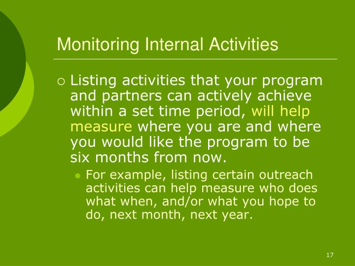 Monitoring Internal Activities