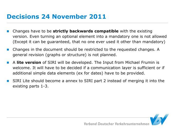 Decisions 24 November 2011