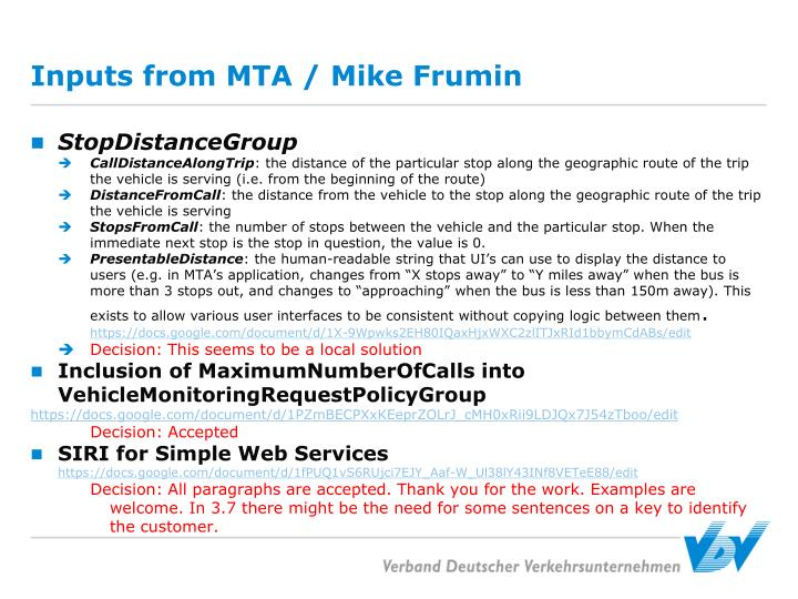 Inputs from MTA / Mike Frumin