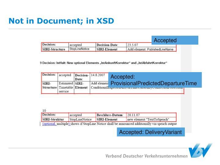Not in Document; in XSD