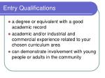 entry qualifications