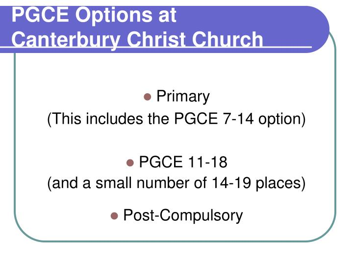 PGCE Options at