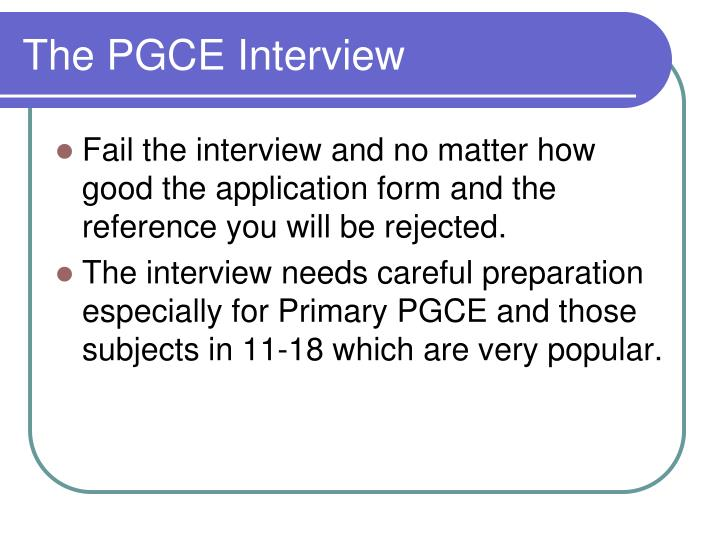 The PGCE Interview