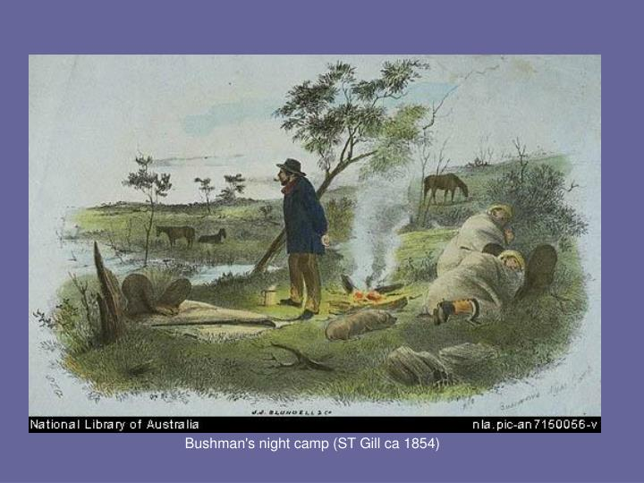 Bushman's night camp (ST Gill ca 1854)