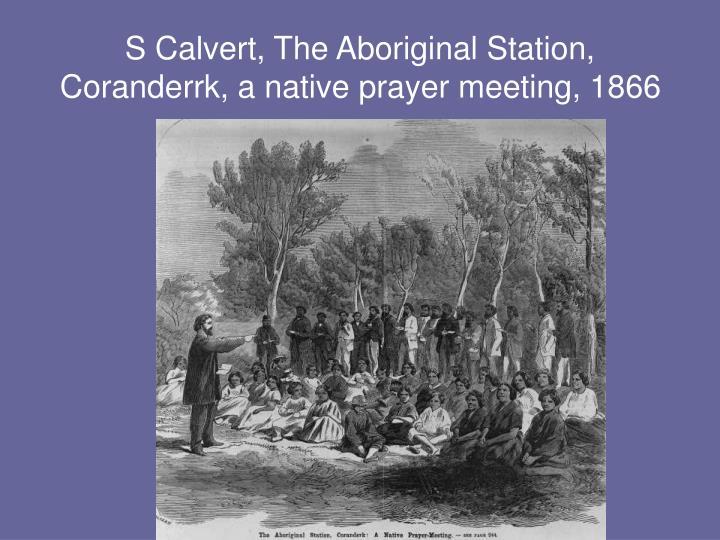 S Calvert, The Aboriginal Station, Coranderrk, a native prayer meeting, 1866