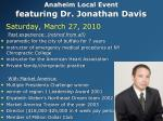 anaheim local event featuring dr jonathan davis