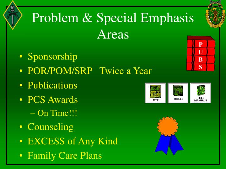 Problem & Special Emphasis Areas