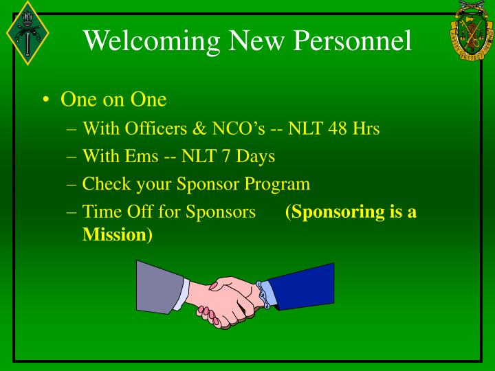 Welcoming New Personnel
