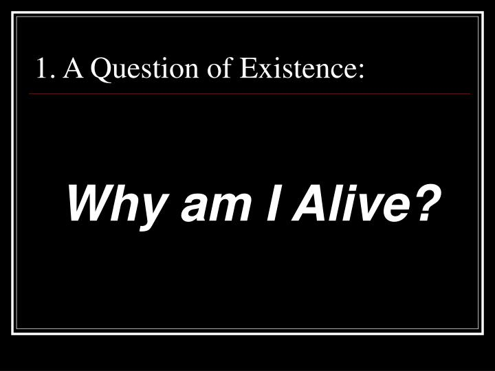1. A Question of Existence: