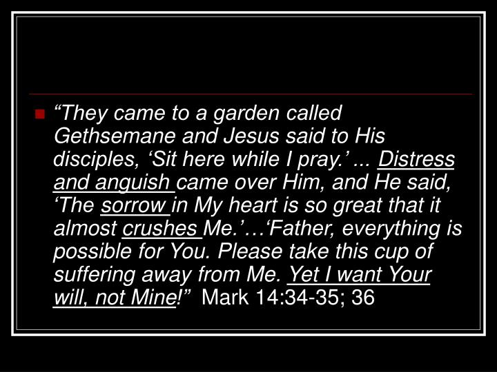 """They came to a garden called Gethsemane and Jesus said to His disciples, 'Sit here while I pray.' ..."