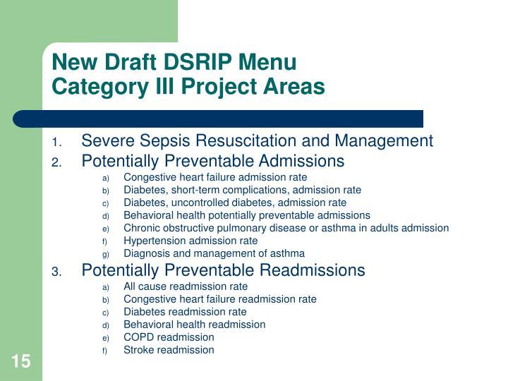 New Draft DSRIP Menu
