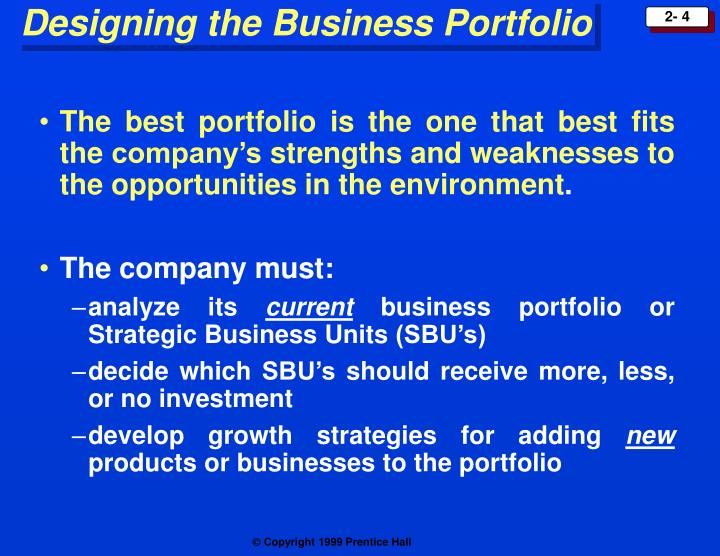 The best portfolio is the one that best fits the company's strengths and weaknesses to the opportunities in the environment