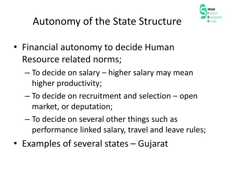 Autonomy of the State Structure