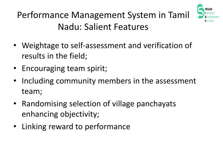 Performance Management System in Tamil Nadu: Salient Features