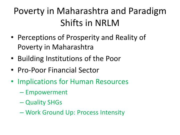 Poverty in Maharashtra and Paradigm Shifts in NRLM
