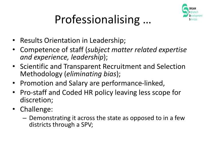 Professionalising …