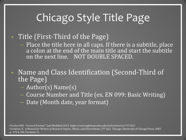 Chicago Style Title Page