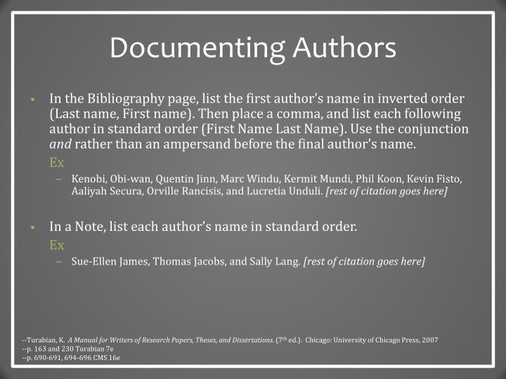 Documenting Authors