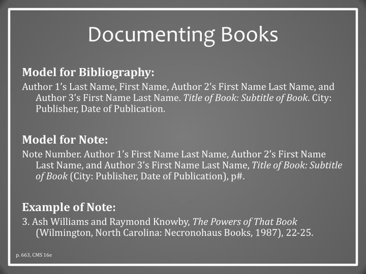 Documenting Books