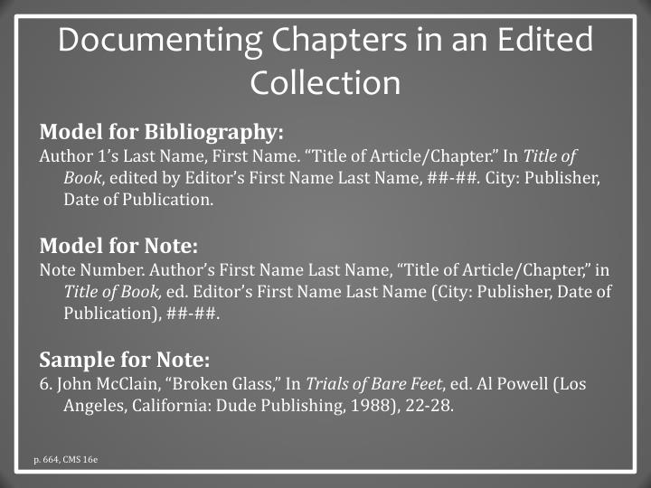 Documenting Chapters in an Edited Collection