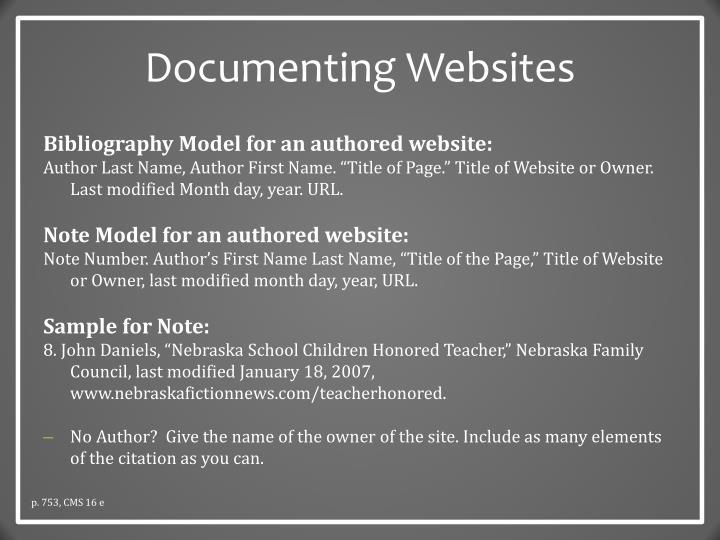 Documenting Websites