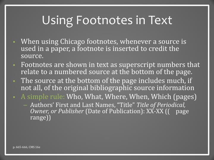 Using Footnotes in Text
