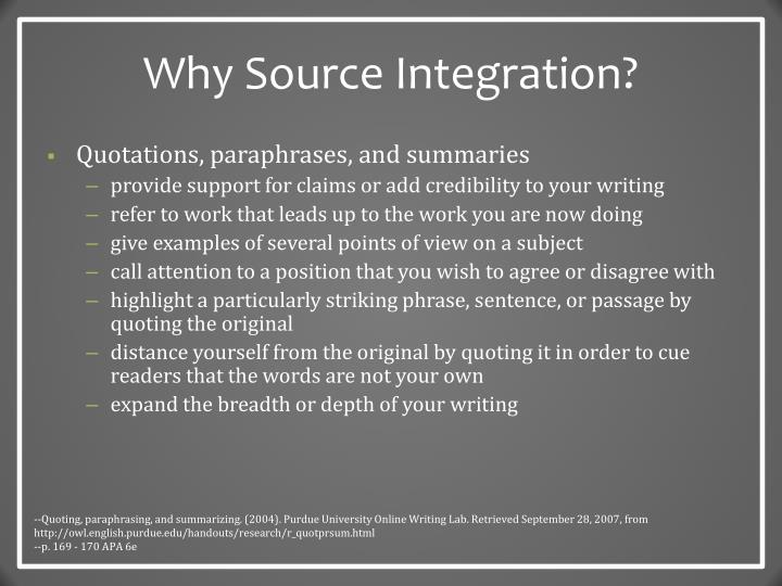 Why Source Integration?