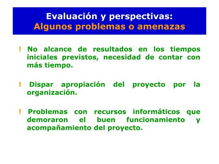 Evaluación y perspectivas: