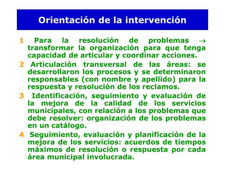 Orientación de la intervención