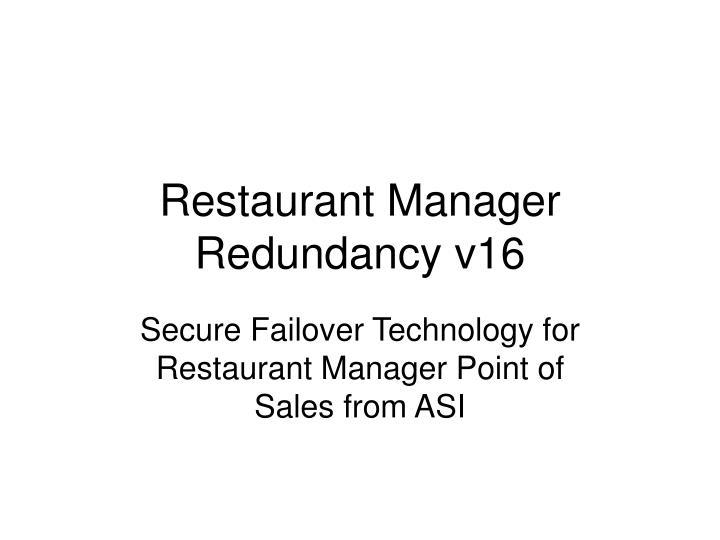 Restaurant Manager Redundancy v16