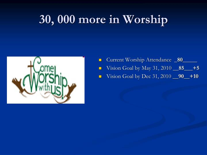30, 000 more in Worship