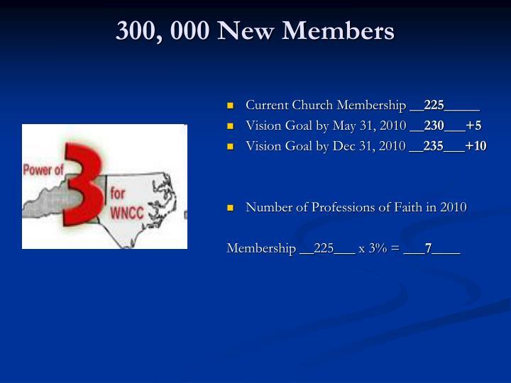 300, 000 New Members