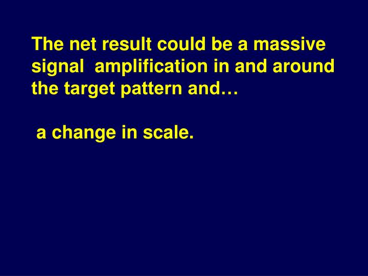 The net result could be a massive signal  amplification in and around the target pattern and…