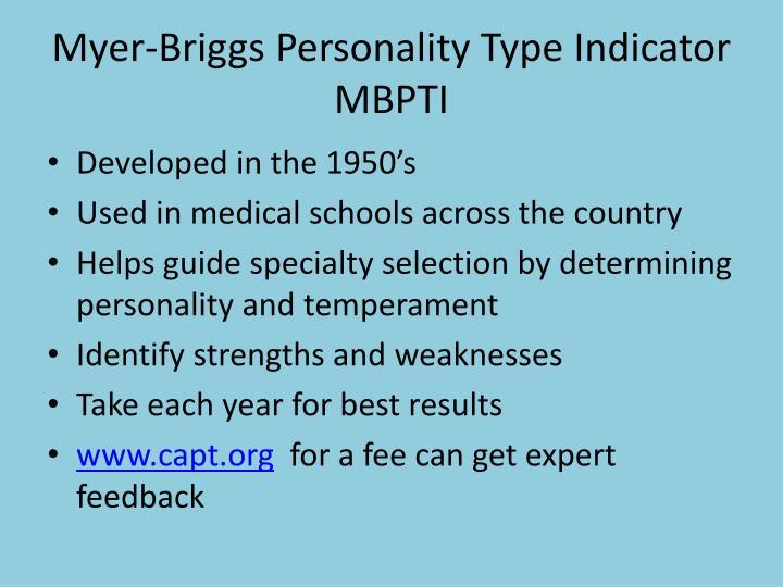 Myer-Briggs Personality Type Indicator