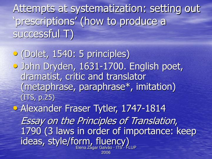 Attempts at systematization: setting out 'prescriptions' (how to produce a successful T)