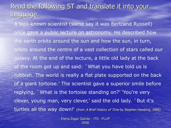 Read the following ST and translate it into your language.