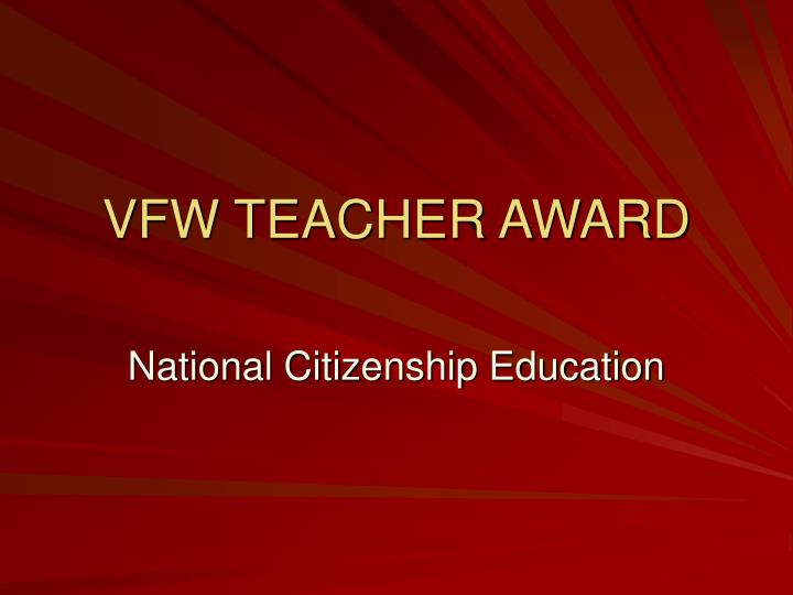 Vfw teacher award