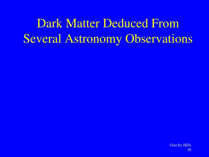 Dark Matter Deduced From Several Astronomy Observations