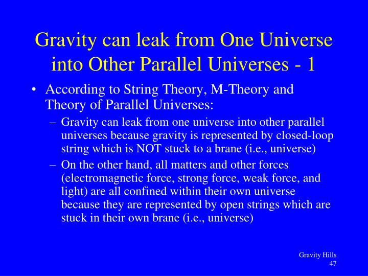 According to String Theory, M-Theory and Theory of Parallel Universes: