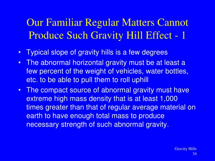 Typical slope of gravity hills is a few degrees