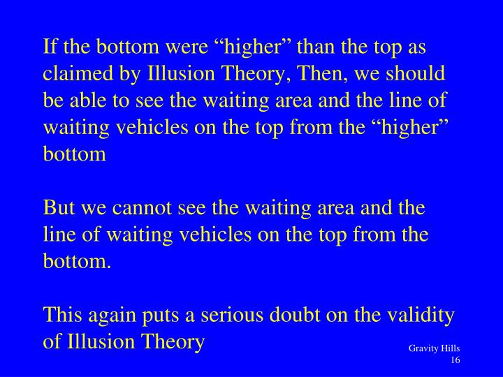 "If the bottom were ""higher"" than the top as claimed by Illusion Theory, Then, we should be able to see the waiting area and the line of waiting vehicles on the top from the ""higher"" bottom"