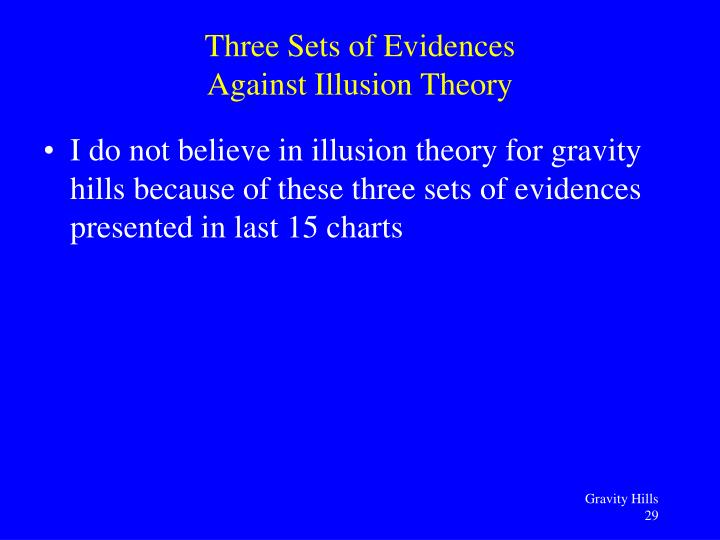 Three Sets of Evidences