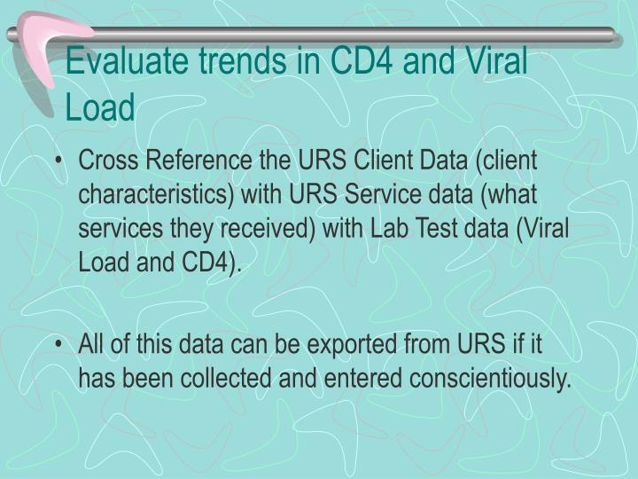 Evaluate trends in CD4 and Viral Load
