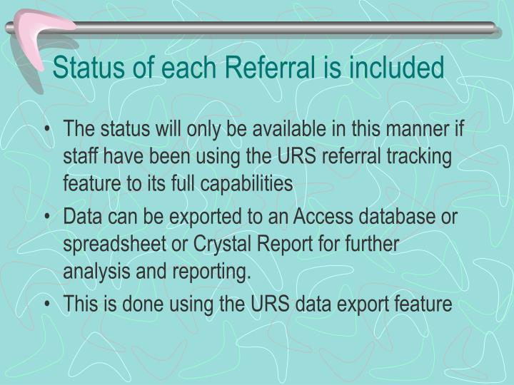 Status of each Referral is included