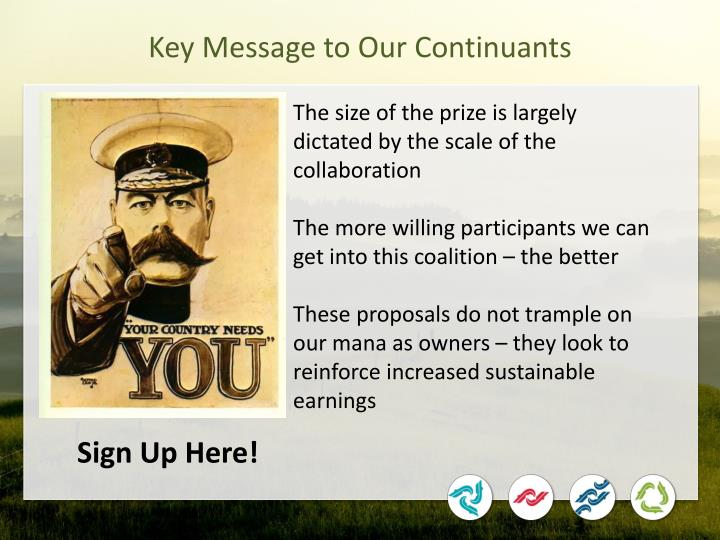 Key Message to Our Continuants