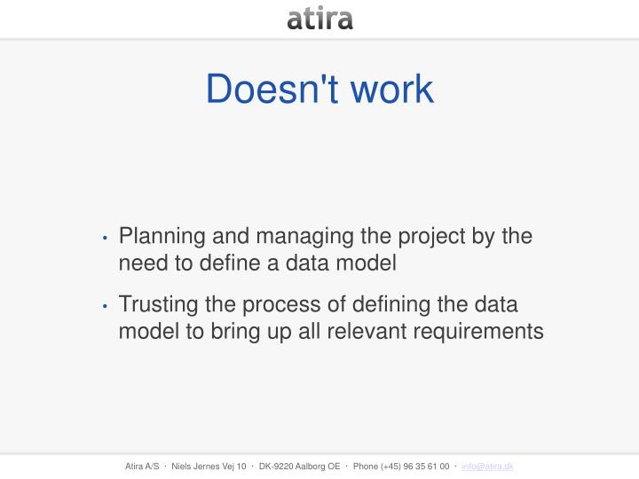Planning and managing the project by the need to define a data model