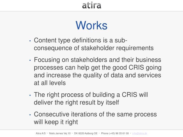 Content type definitions is a sub-consequence of stakeholder requirements