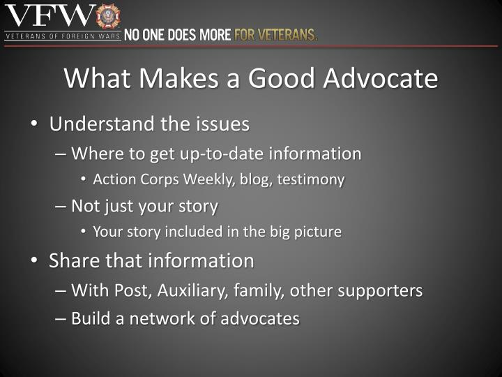 What Makes a Good Advocate
