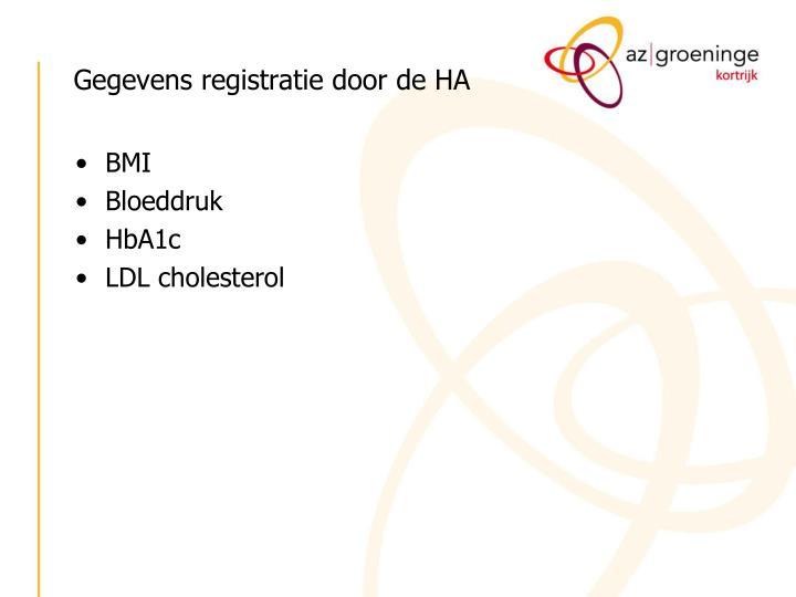 Gegevens registratie door de HA
