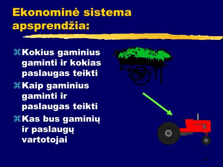Ekonominė sistema apsprendžia